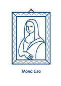Photo Painting The Mona Lisa.The linear vector emblem icon. The famous painting of Leonardo da Vinci.