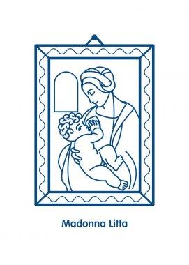 Madonna Litta. The virgin Mary breastfeeding the Christ child. Vector icon of Leonardo da Vinci.