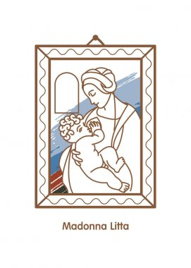 Madonna Litta. Vector icon of Leonardo da Vinci. The virgin Mary breastfeeding the Christ child.