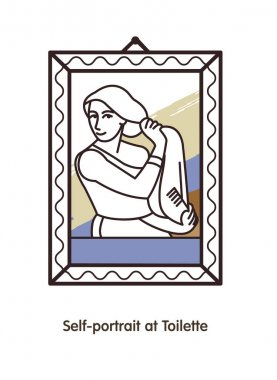 Woman combing her hair before a mirror. A self portrait of the Russian artist Serebryakova. The linear vector icon. stock vector