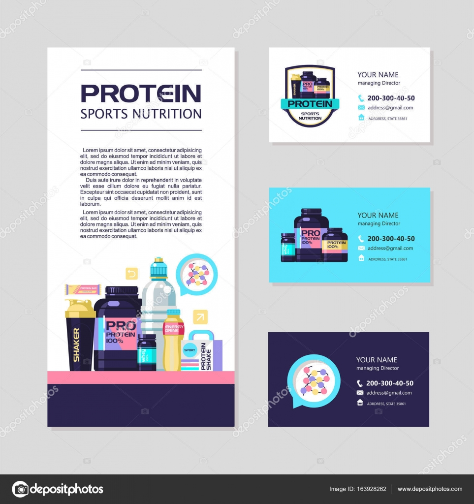 Identite Visuelle Cartes De Visite Flyer Proteine Nutrition Sportive Vecteur Defini Delements Graphiques Illustration Stock