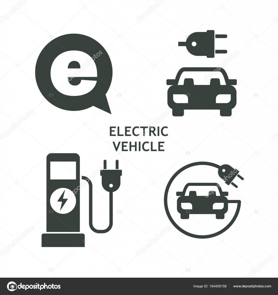 Satz von Vektor-Icons. Elektro-Fahrzeug. Service von ...