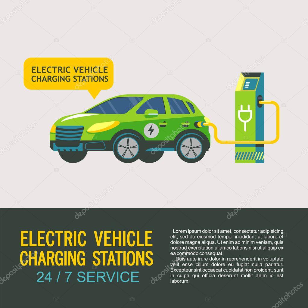 Elektrikli araç şarj istasyonu. Hizmet elektrikli araçlar ...