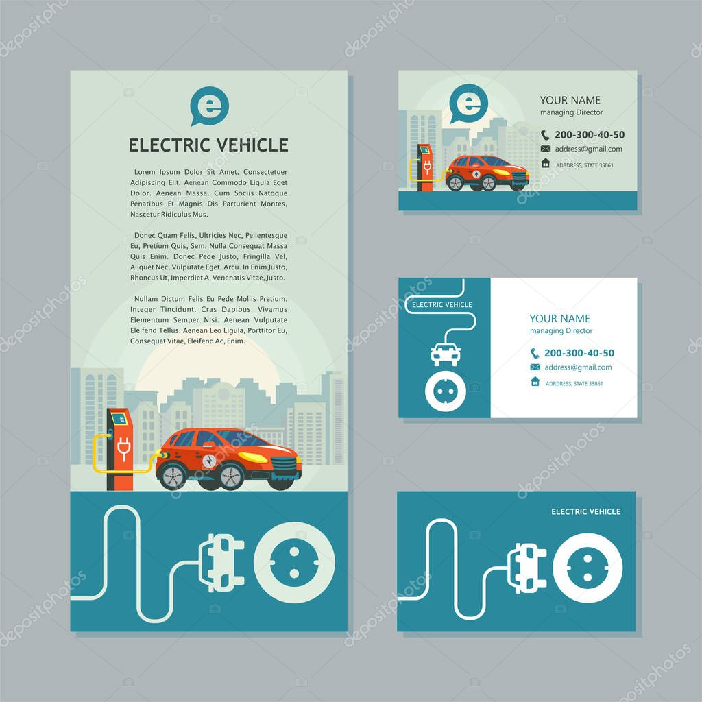 Red electric car at a charging station. Service electric vehicles. Corporate identity, car show, flyer, business cards.