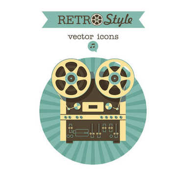 Retro reel tape recorder. Vector icon logo.