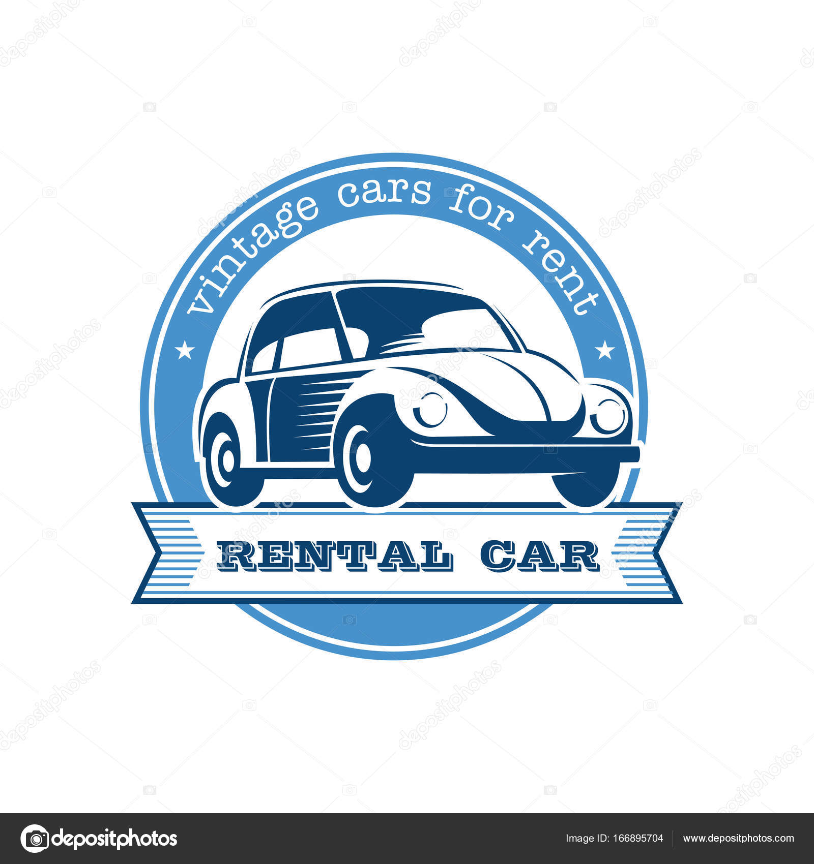 Vintage car rental. Vintage car. Vector logo. Emblem isolated on ...