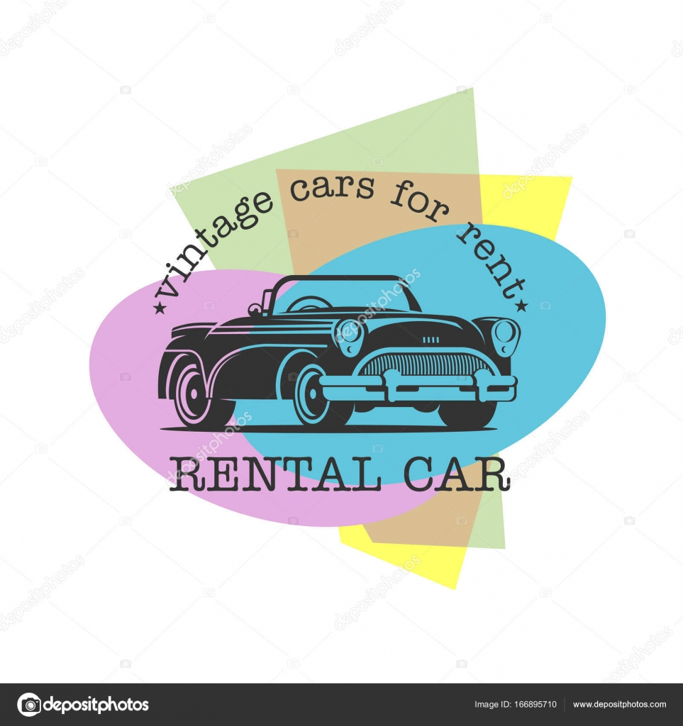 Vintage car rental. Vector monochrome logo on a colored background ...