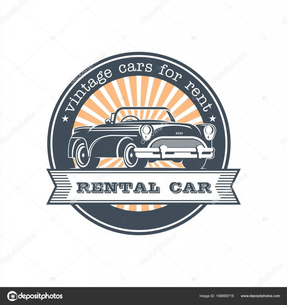 Vintage car rental. Vector logo, emblem. — Stock Vector ...