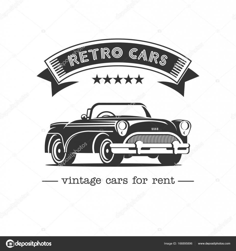 Vintage car. Sale, rental of vintage cars. Monochrome vector logo ...