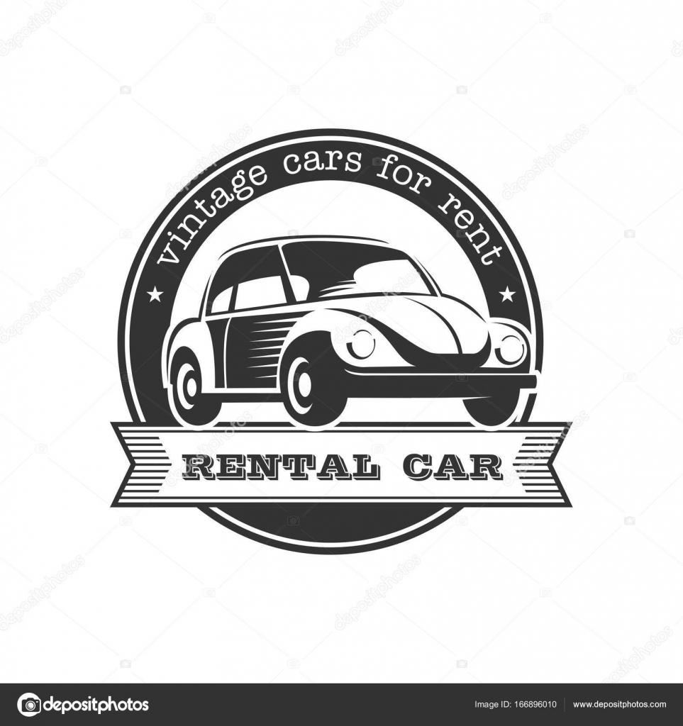 Vintage car. Vector logo. Rent of retro cars. A monochrome emblem ...
