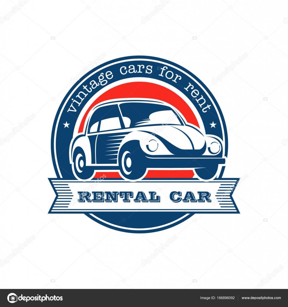 Vintage car. Vintage car rental. Vector logo. Emblem isolated on ...