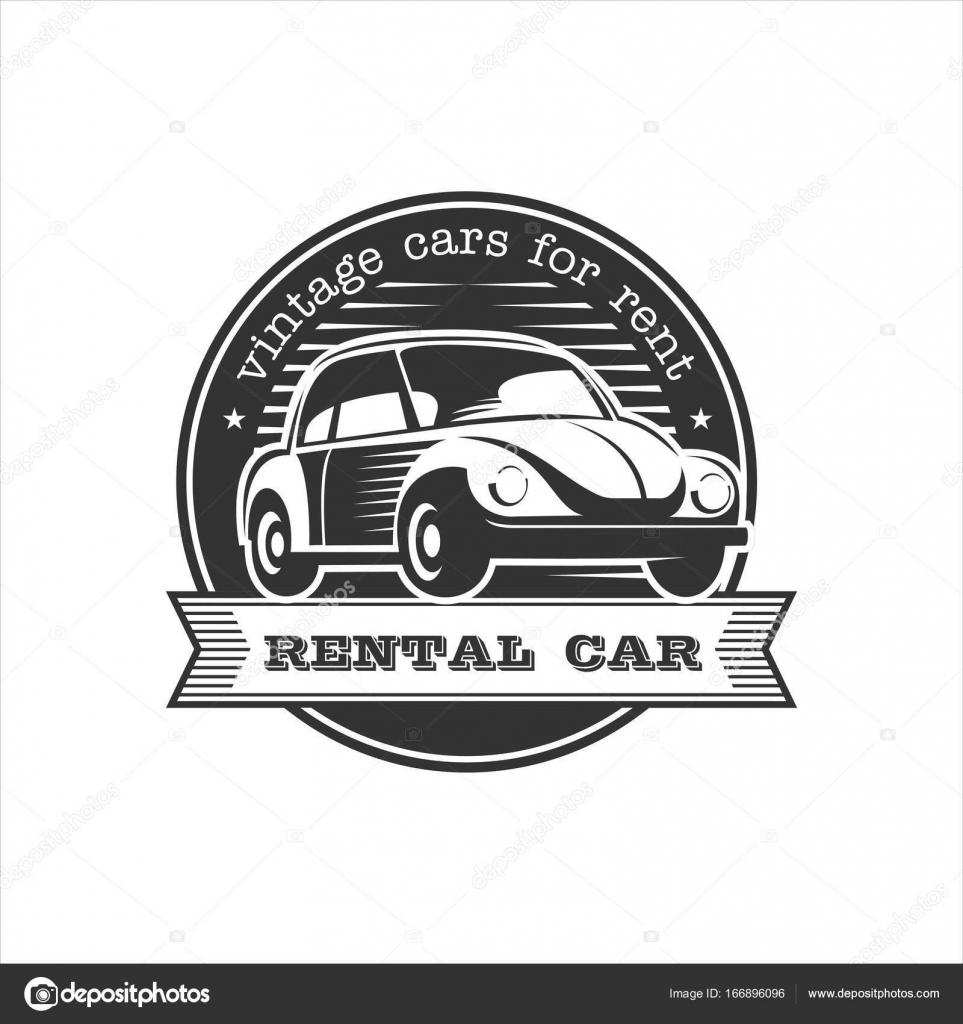 Vintage cars for rent. Rental of vintage cars. Monochrome vector ...