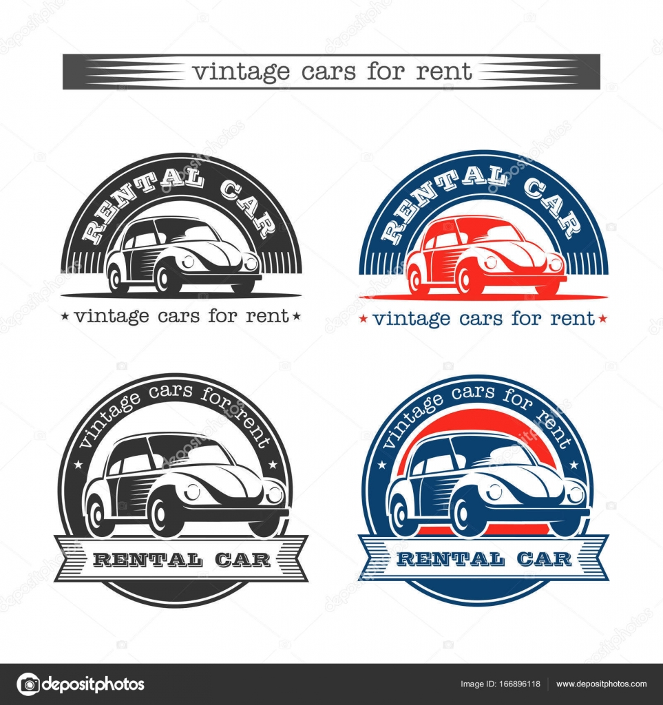 Vintage cars for rent. Isolated on white background. Vector set of ...