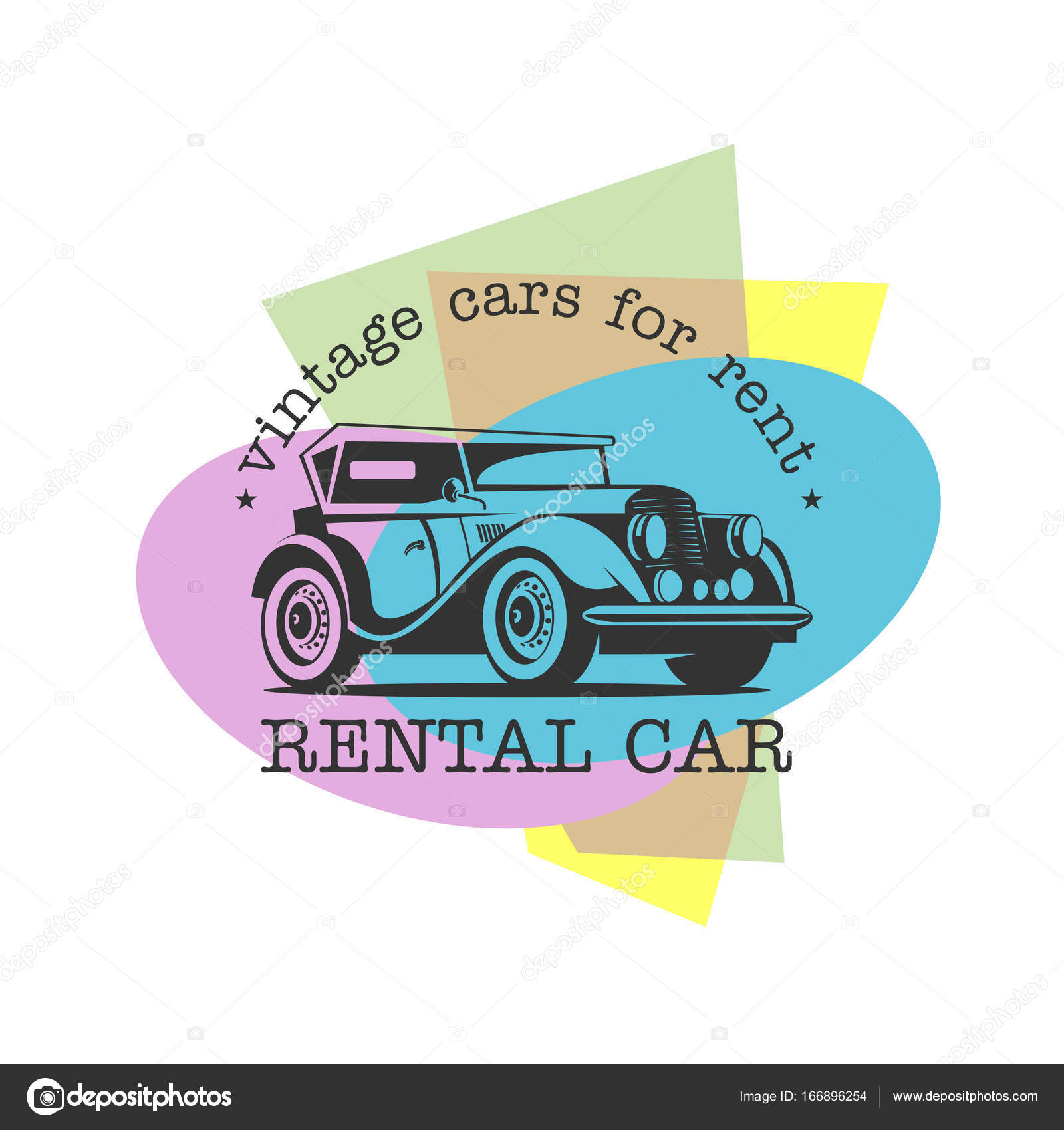 Vintage cars for rent. Retro car. Vector logo on colorful background ...