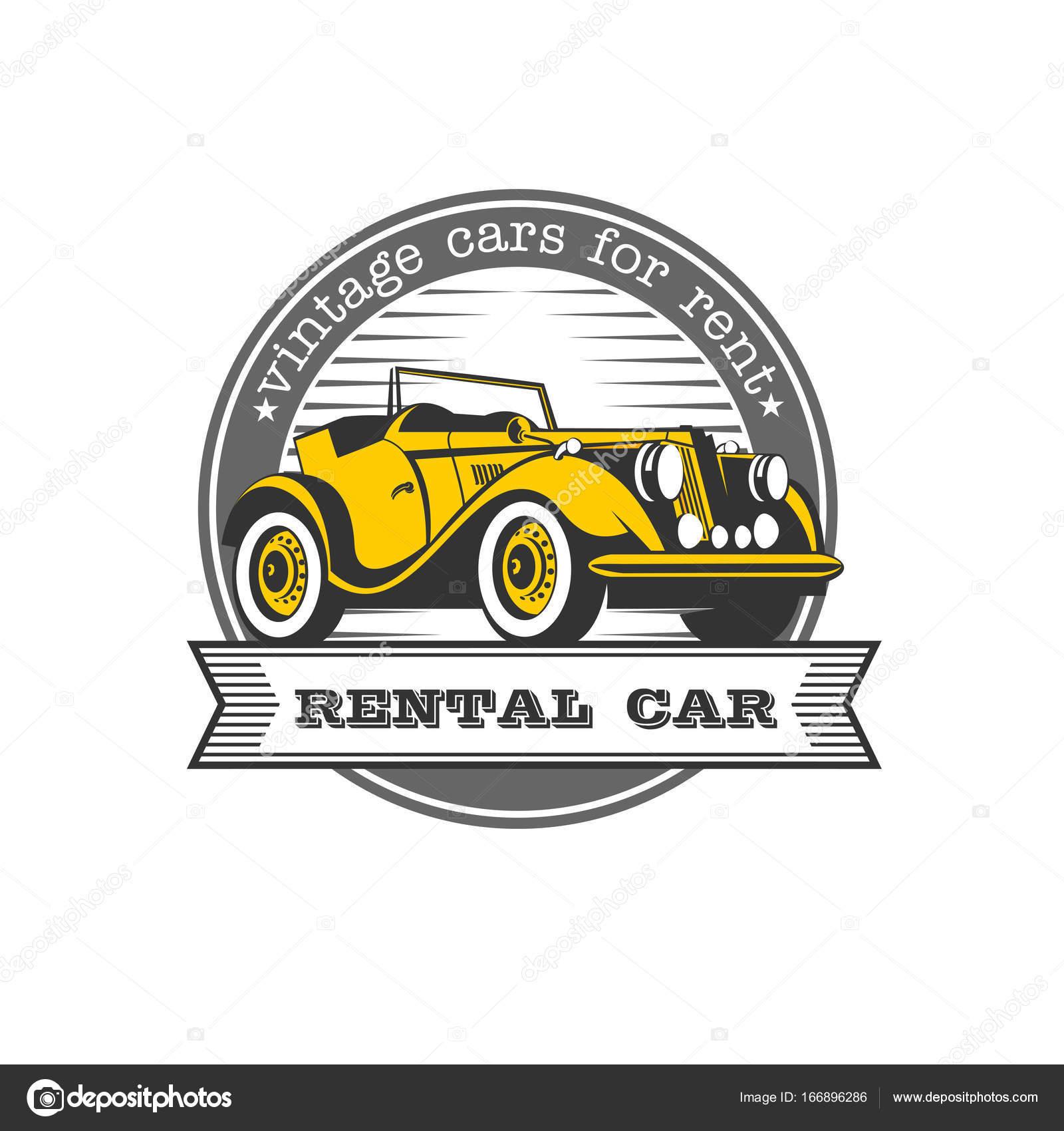 Vintage cars for rent. Yellow retro car convertible. Vector logo ...