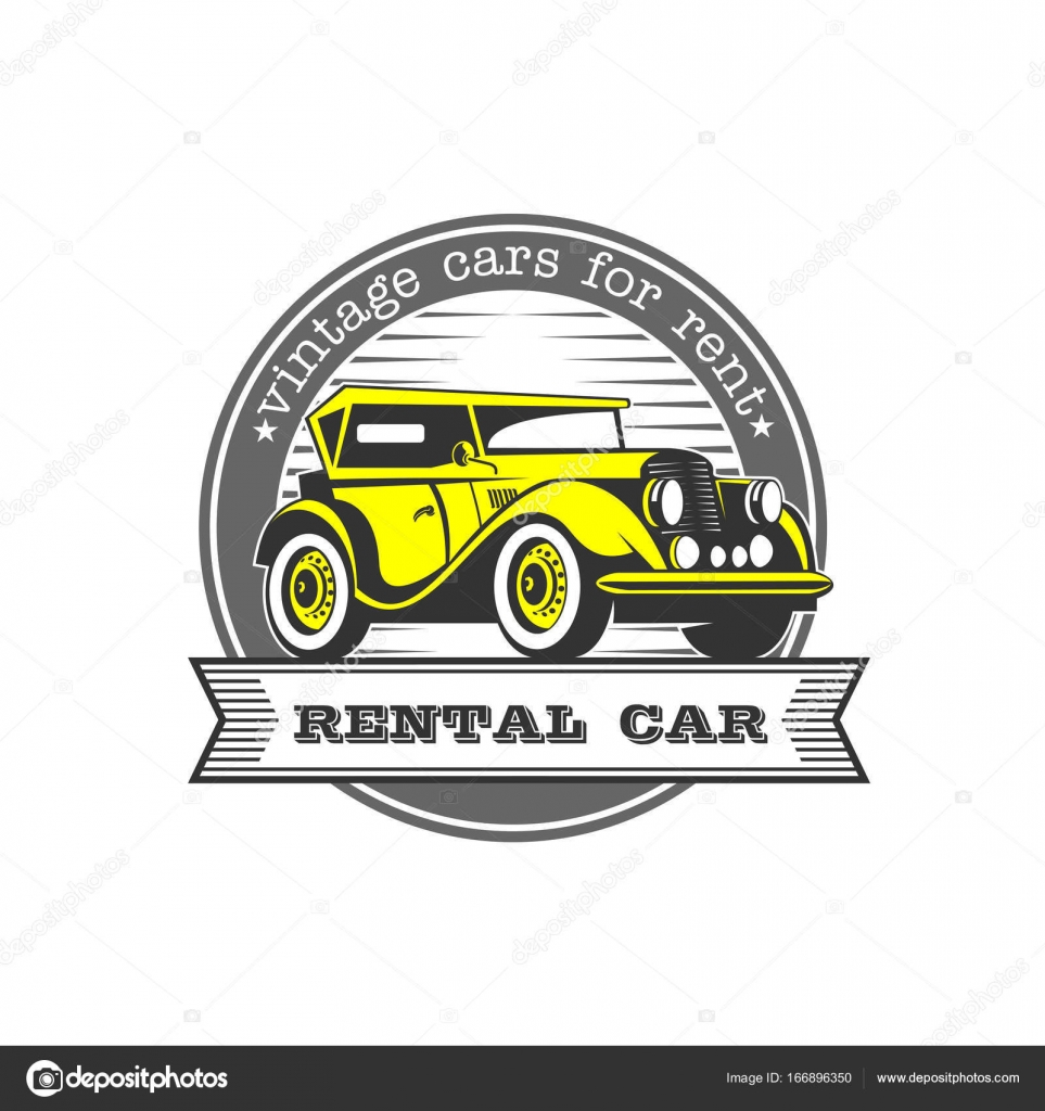 Vintage cars for rent. Yellow retro car. Vector logo isolated on ...