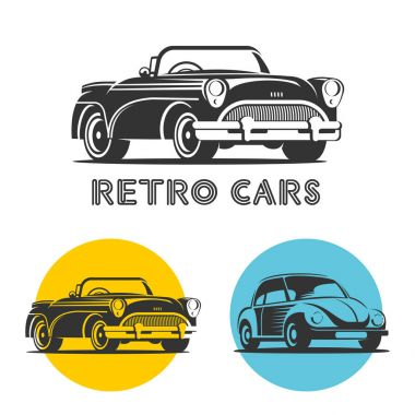 Vintage cars. Vector set of logos. Monochrome isolated on white background.