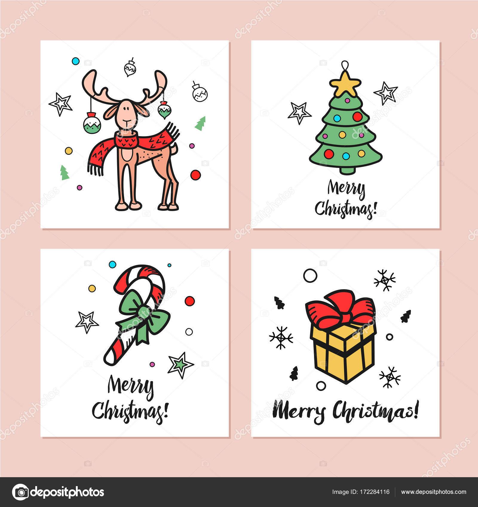 Süße Weihnachtsbilder.Eine Reihe Von Weihnachtskarten Stockvektor Katedemianov 172284116
