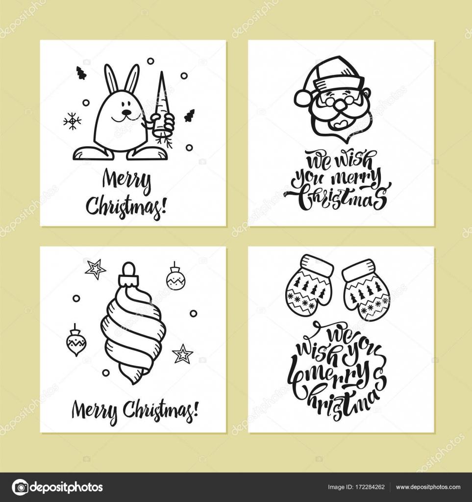 Süße Weihnachtsbilder.Eine Reihe Von Weihnachtskarten Stockvektor Katedemianov 172284262