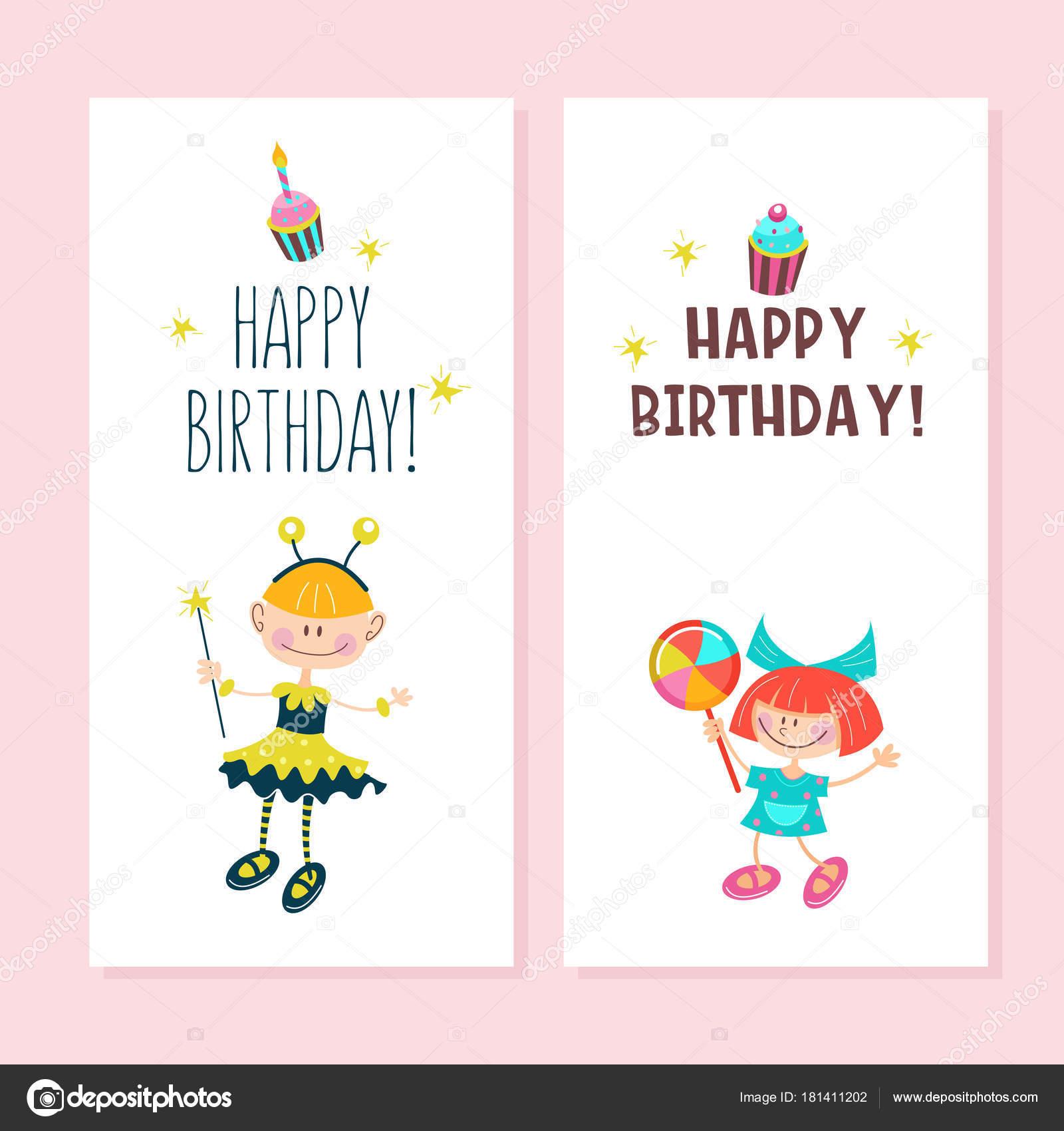 Carte Postale De Joyeux Anniversaire Jeune Fille Joyeuse Image