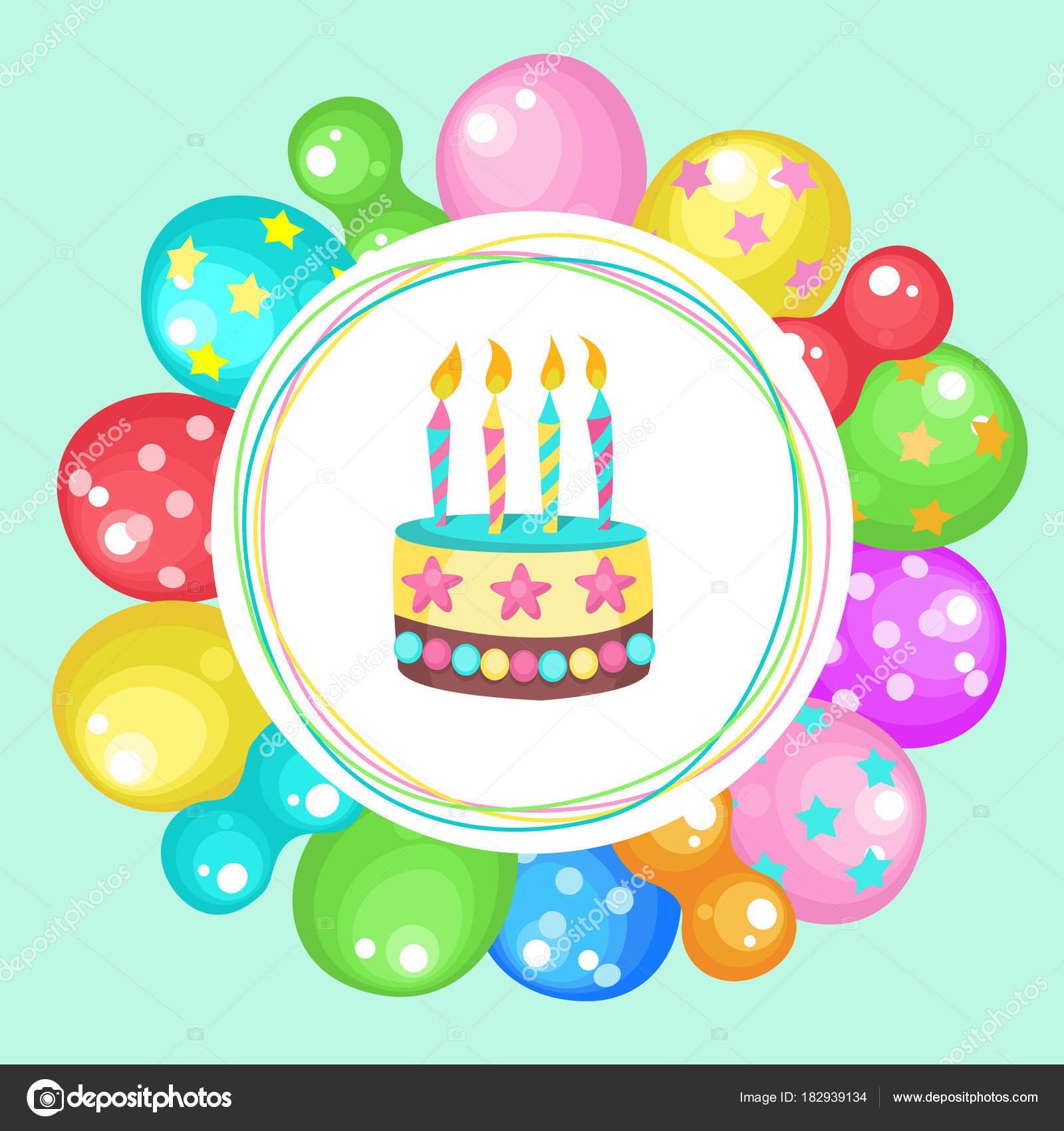 Happy Birthday Greeting Card Bright Multicolored Balloons Cake With Candles Vector Illustration By Katedemianov