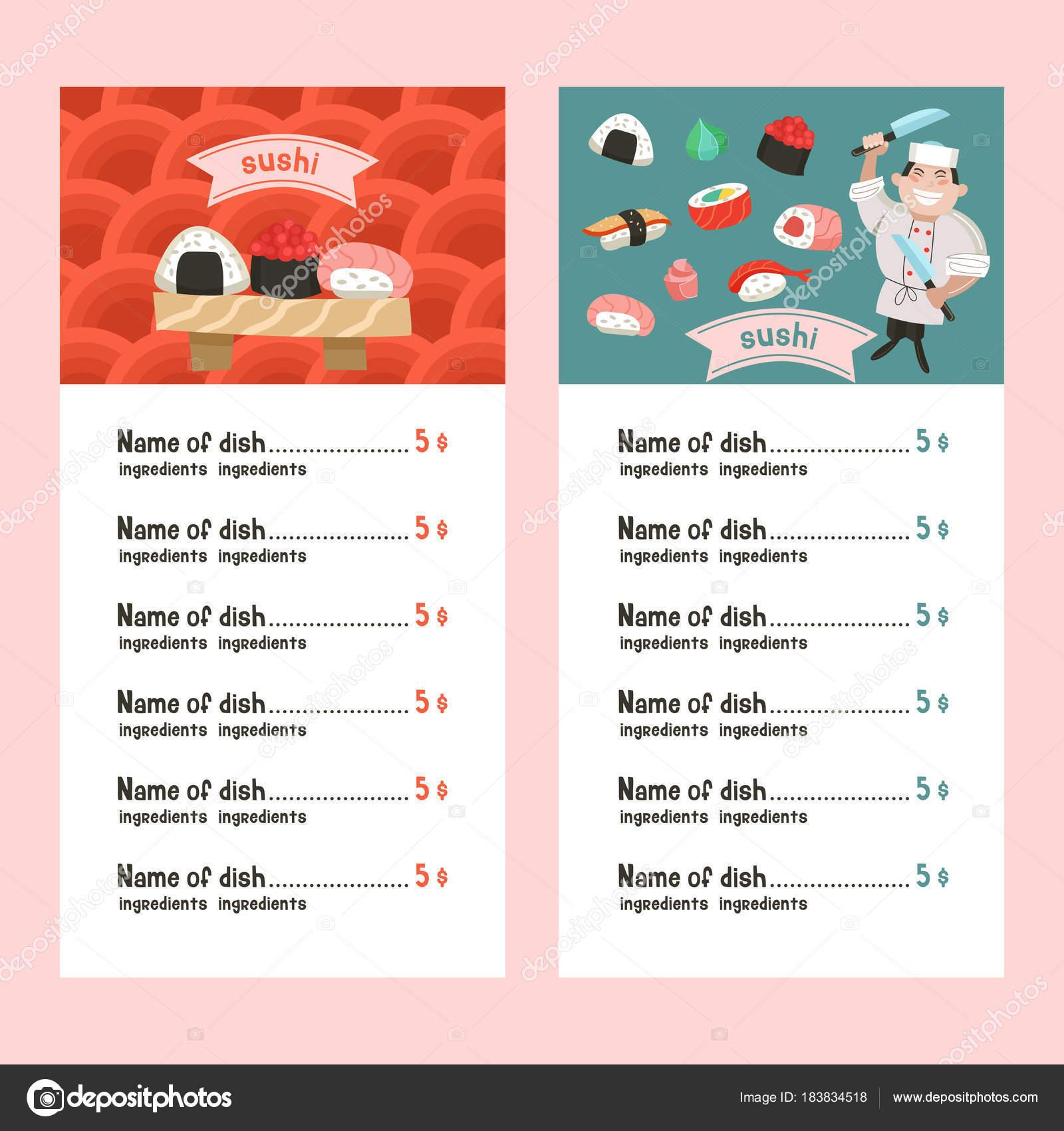 Japanische Küche. Eine Reihe von Vorlagen im Menü einer japanischen ...