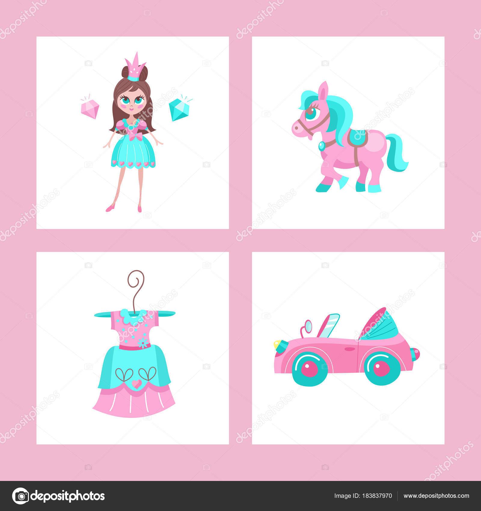 お姫様のためのおもちゃベクター クリップアートのセット ストック