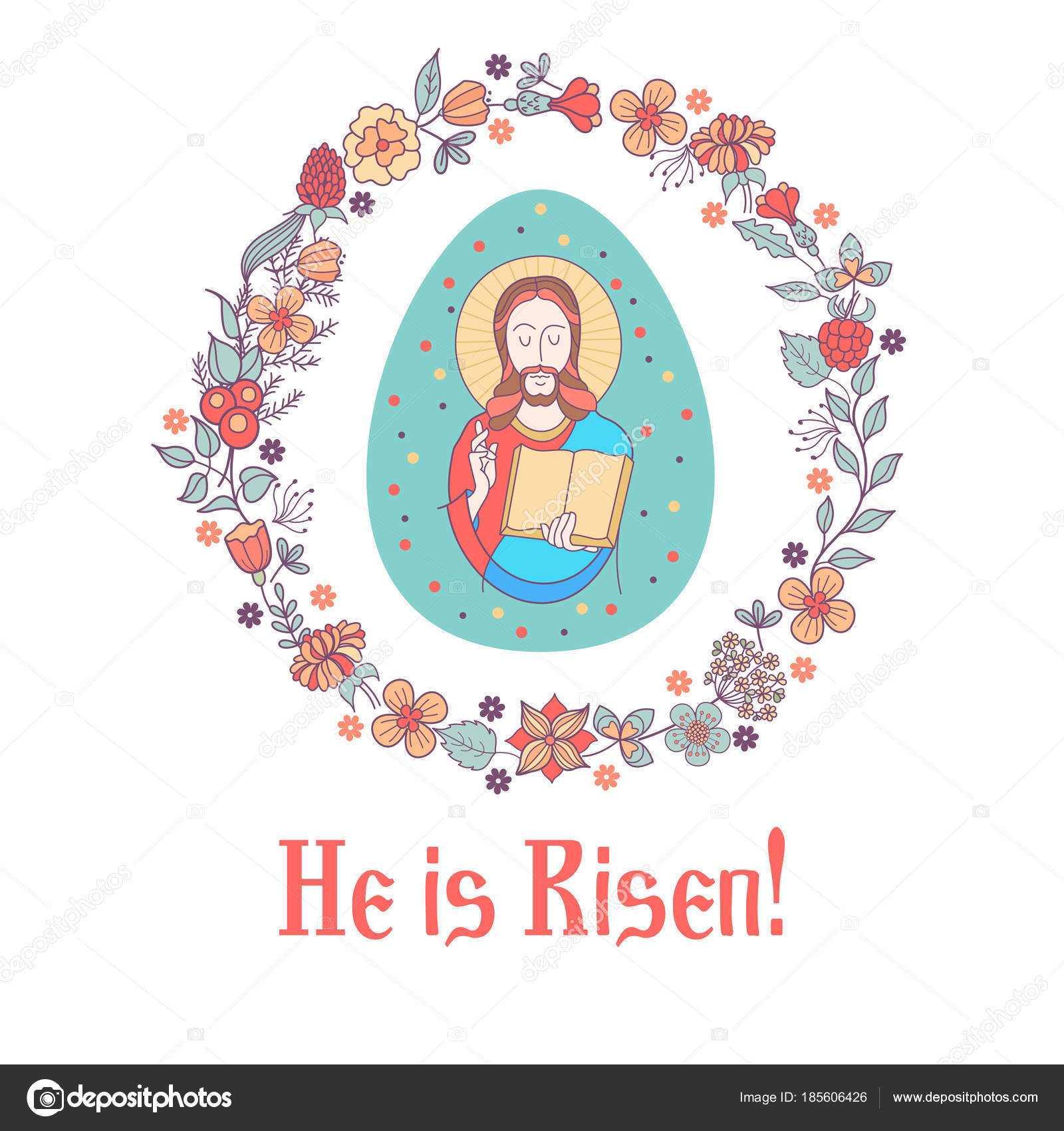 Christ is risen! Vector illustration. Jesus Christ. Easter egg ...