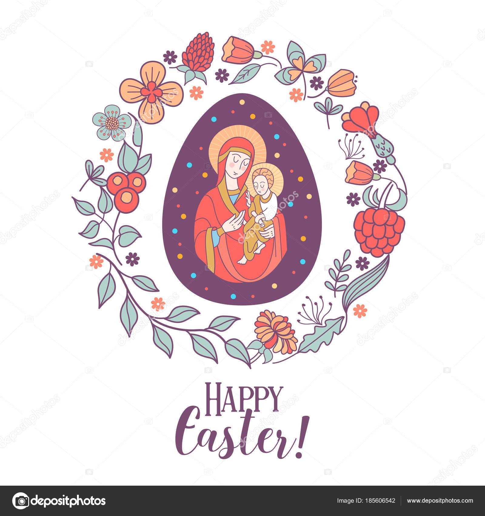 Feliz Pascua de resurrección! Ilustración de vector. La Virgen y ...