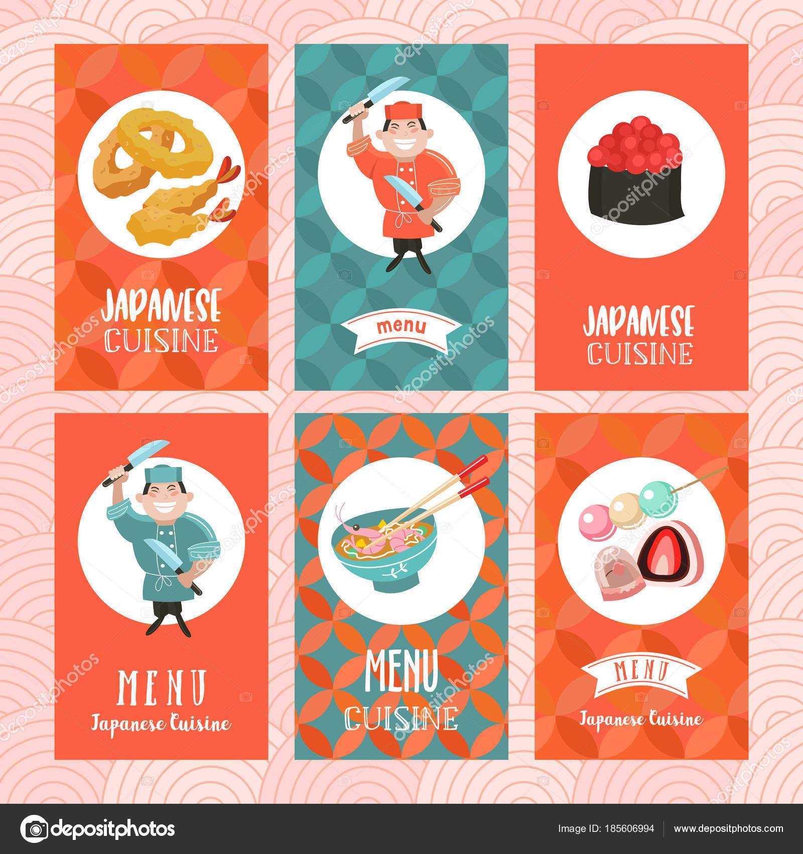 Cocina japonesa. Un conjunto de plantillas de menú de una r japonesa ...