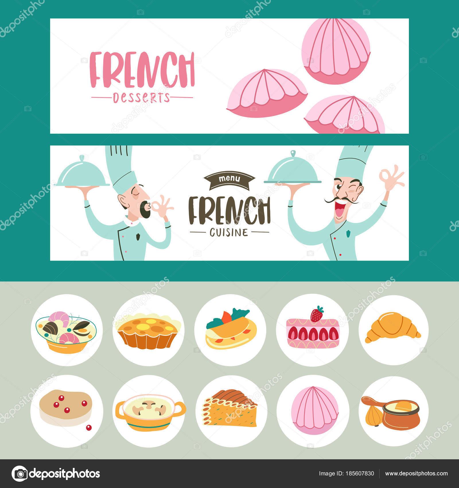 Cocina francesa. Un conjunto de platos franceses. Plantillas de ...