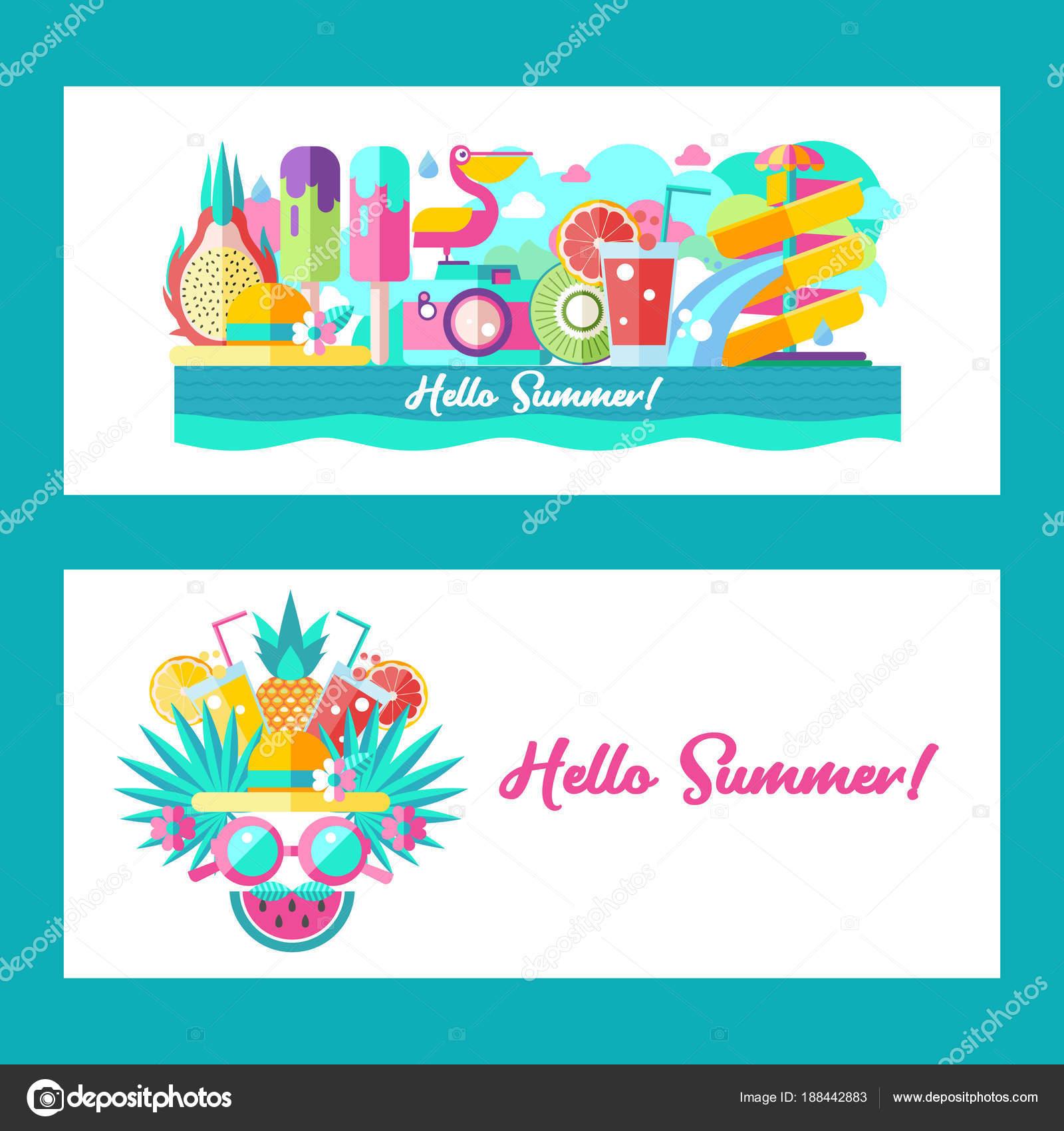 Hallo Sommer. Vektor-Cliparts — Stockvektor © katedemianov #188442883