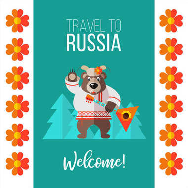 Welcome to Russia. Travelling to Russia. Vector illustration.