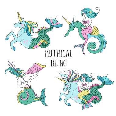 Mythological sea creatures. Vector illustration.