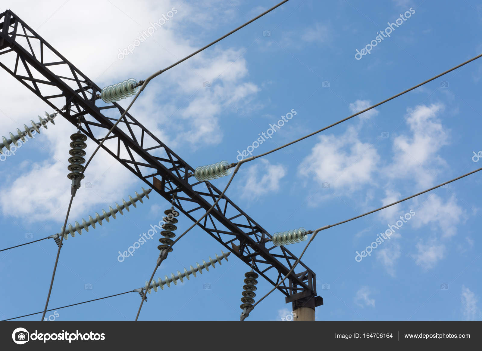 High-voltage wires with insulators — Stock Photo © panzer25 #164706164
