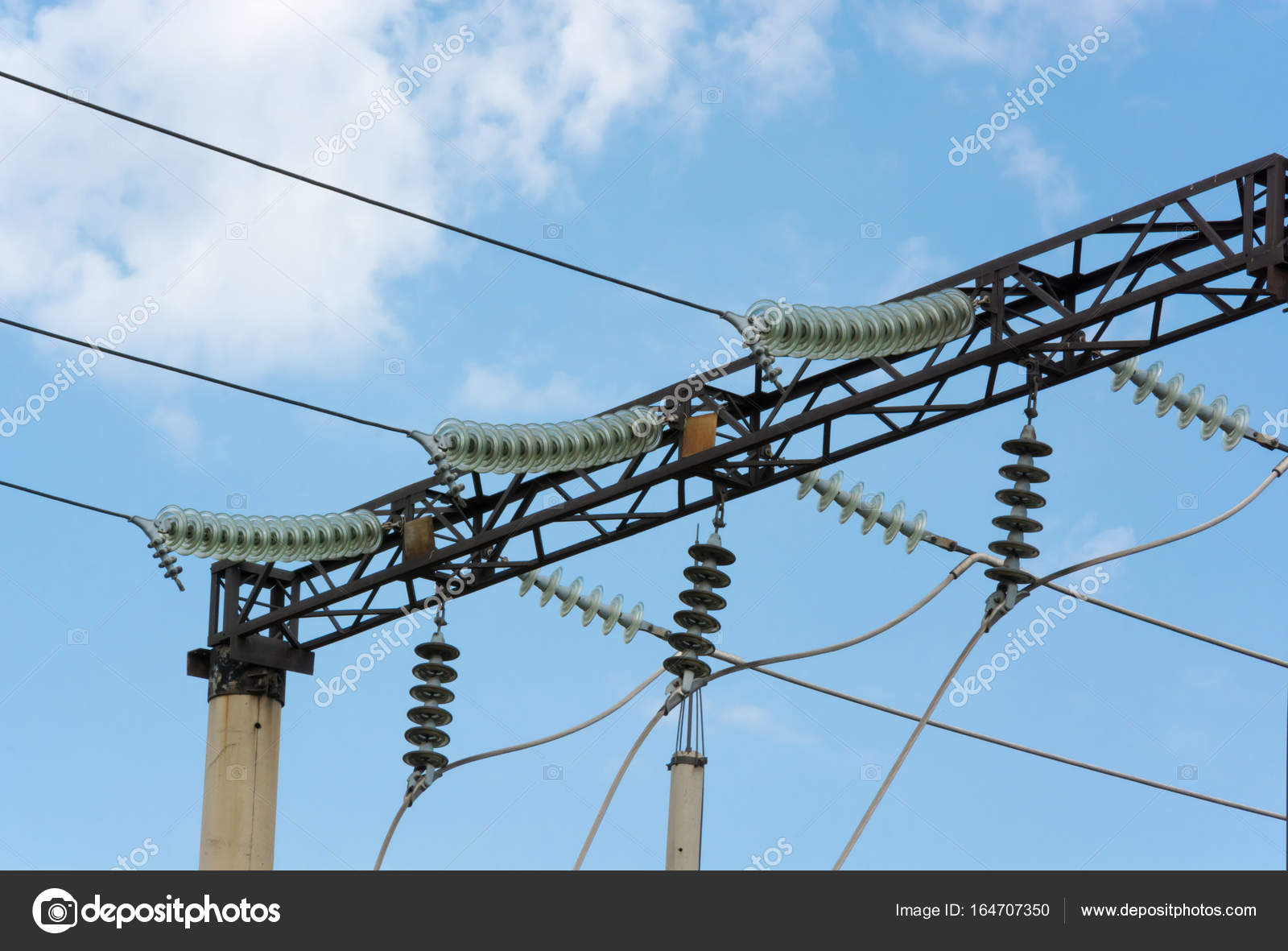 High-voltage wires with insulators — Stock Photo © panzer25 #164707350