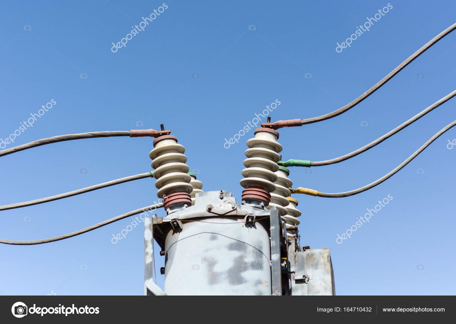 High-voltage wires with insulators — Stock Photo © panzer25 #164710432