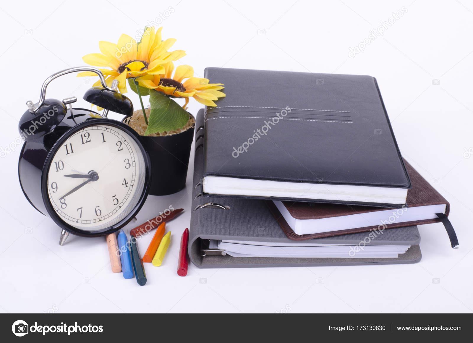 Buch mit ticken Vintage Uhr, künstliche Blume Pflanze und farbige ...