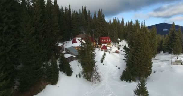 Aerial survey of houses in the middle of the forest in the mountains in winter
