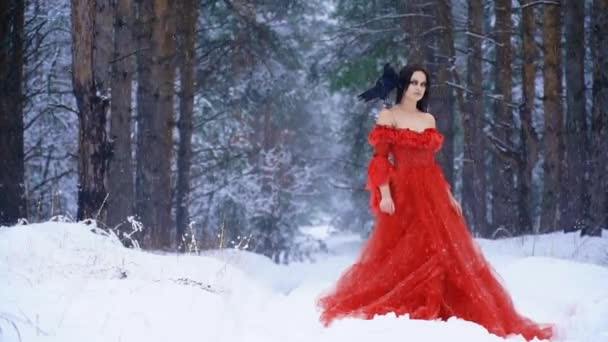 Beautiful woman with pale skin in a red dress with a raven on his shoulder