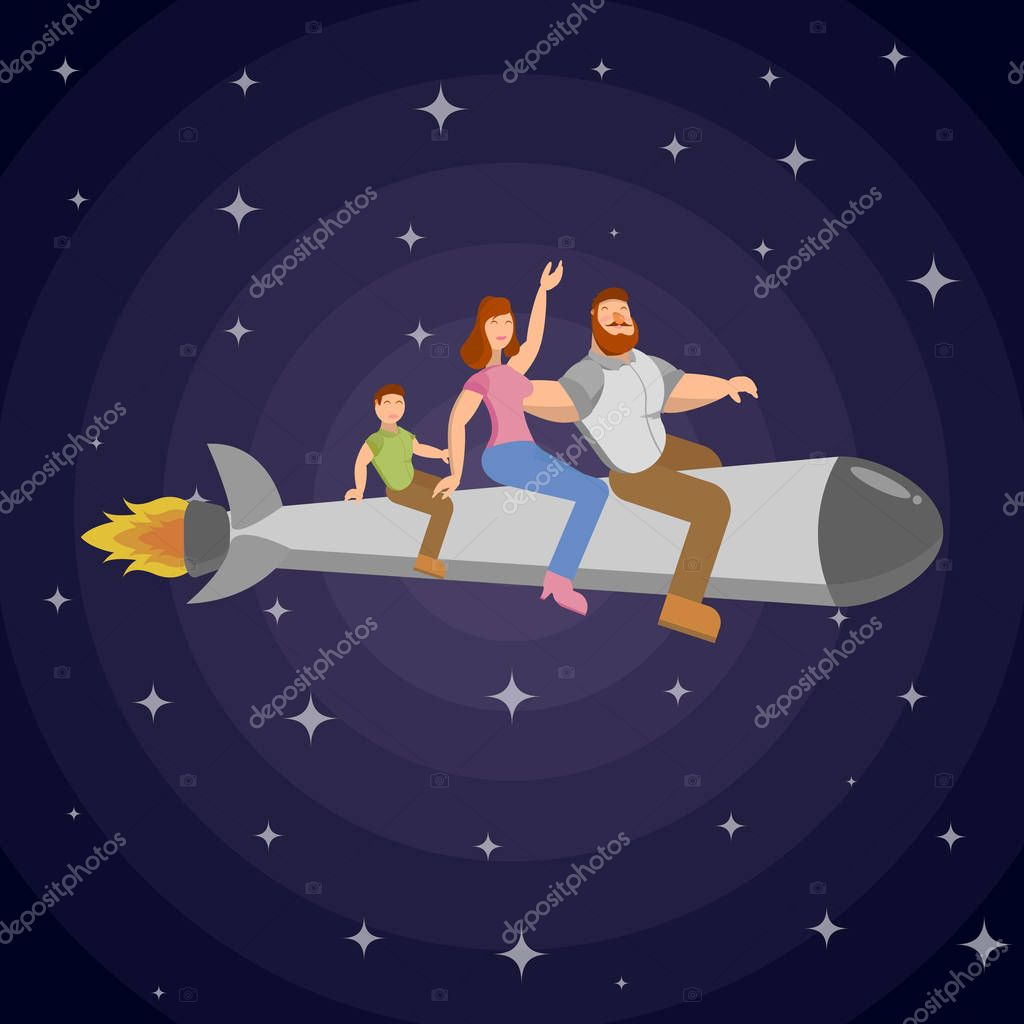 En Un Cohete Vuela Una Familia De Hombre Mujer Y Niño Que Viajan A