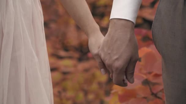 Man in suit and woman in dress hold hands in autumn park