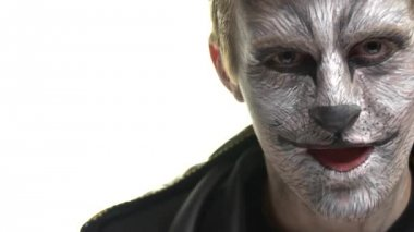 Body Art Raccoon on the face of a guy who says booo. Animal Make up