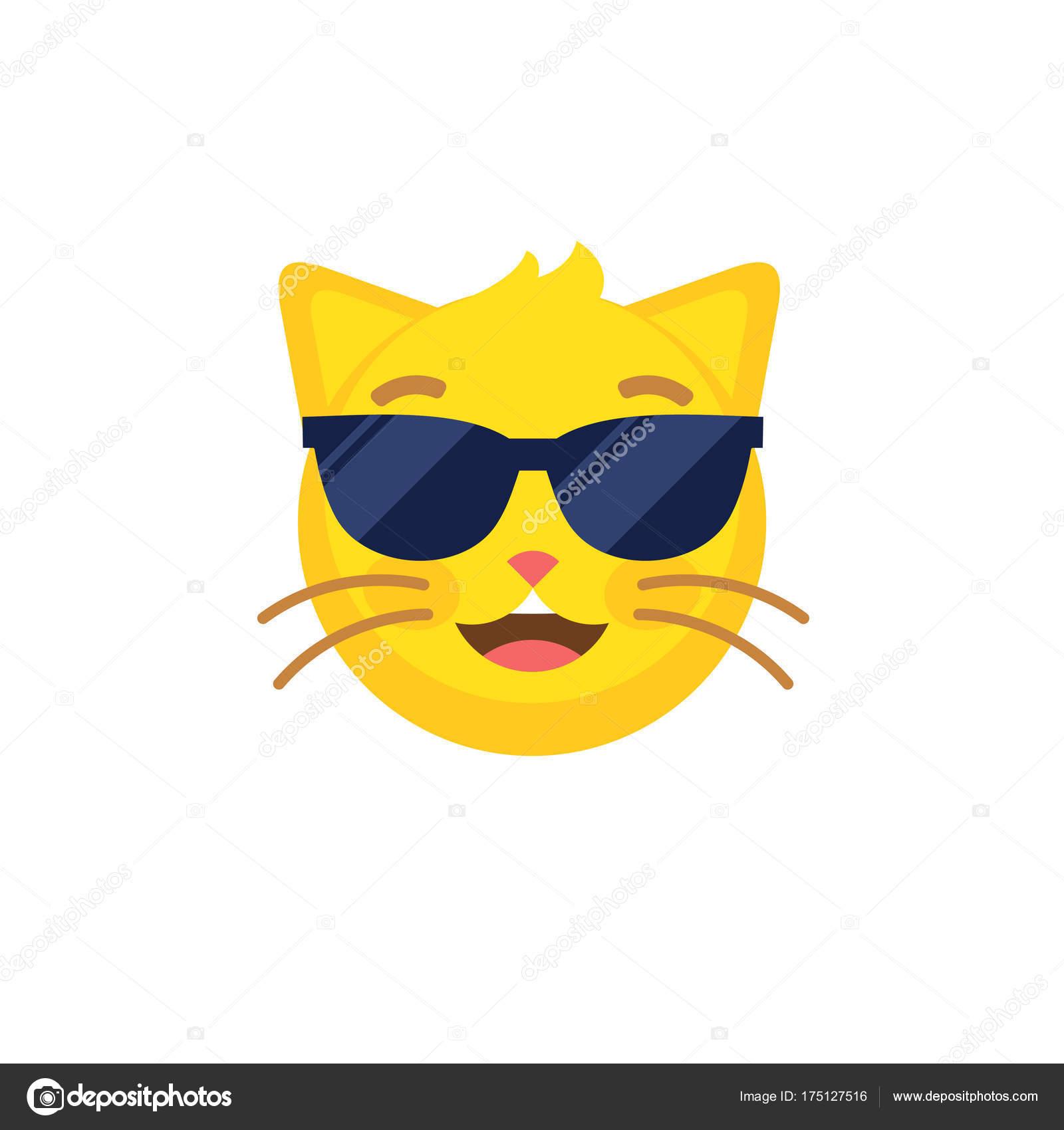 Gracioso Icono Estilo Plano Resumen Gato En Emoticon Emoji De rothxBsQdC