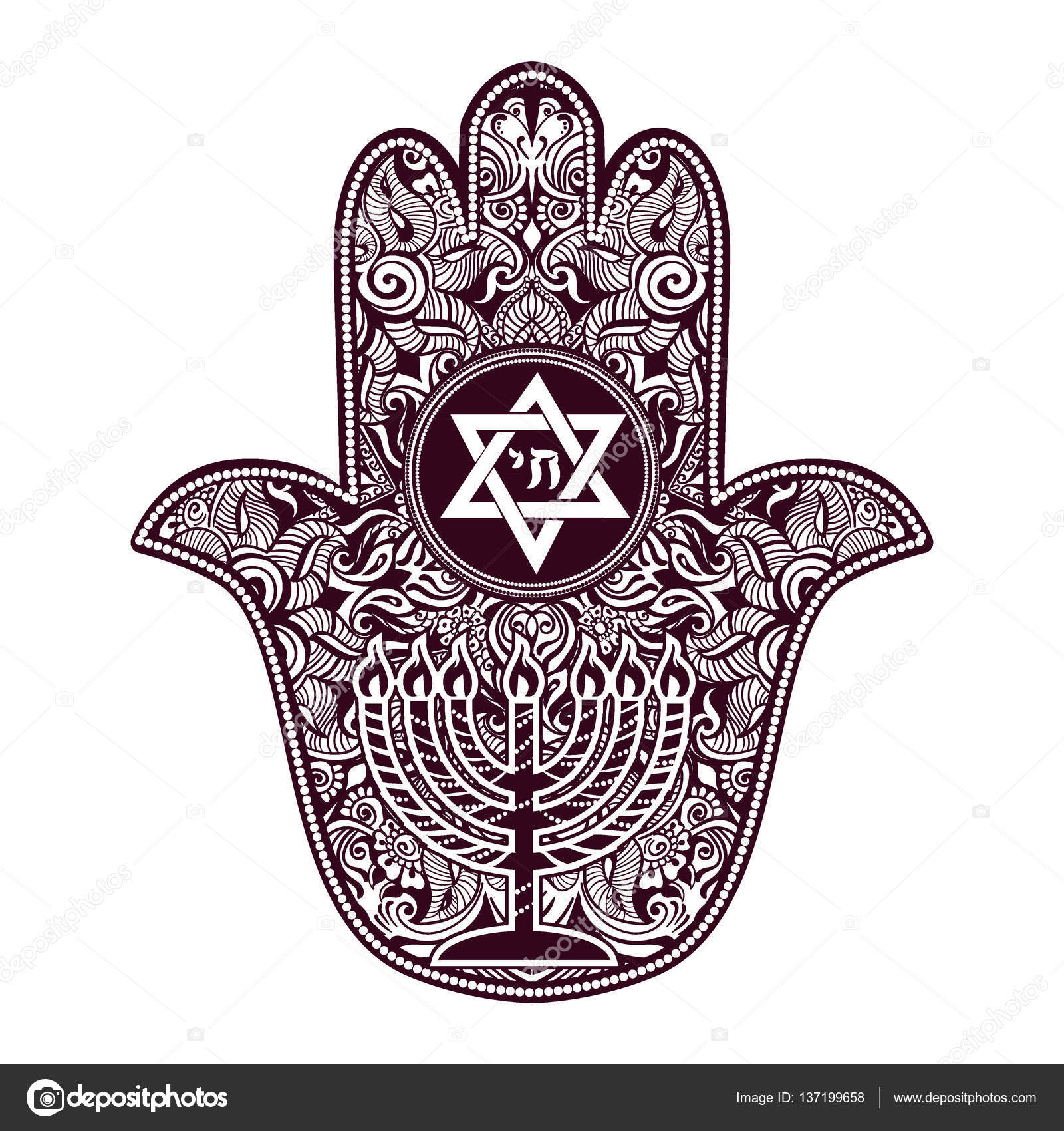Jewish hamsa tattoo stock vector yulianas 137199658 jewish sacred amulet and religious symbols menorah hanukkah lamp hamsa or hand of miriam palm of david star of david rosh hashanah hanukkah biocorpaavc