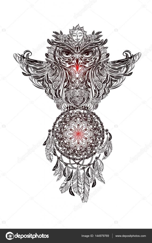Sowa Tatuaż Wektor Grafika Wektorowa Yulianas 144979769