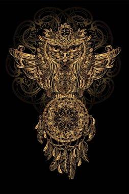 vector Owl tattoo
