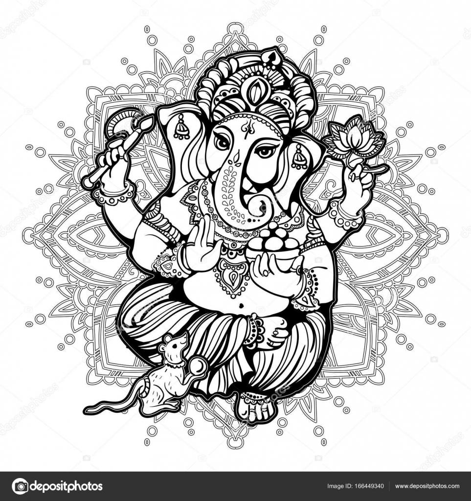 libro de colorear Ganesha para adultos — Archivo Imágenes ...