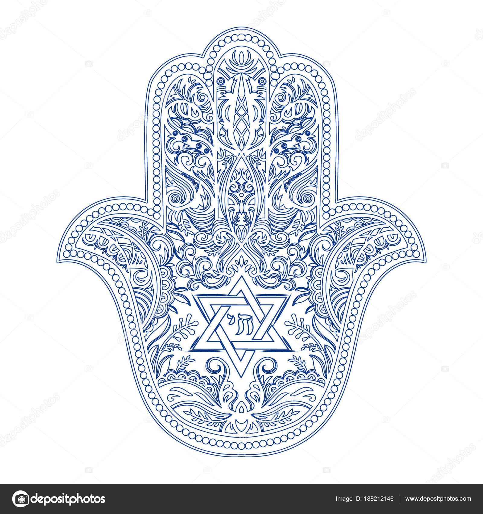 jewish hamsa tattoo — Stock Vector © YulianaS #188212146