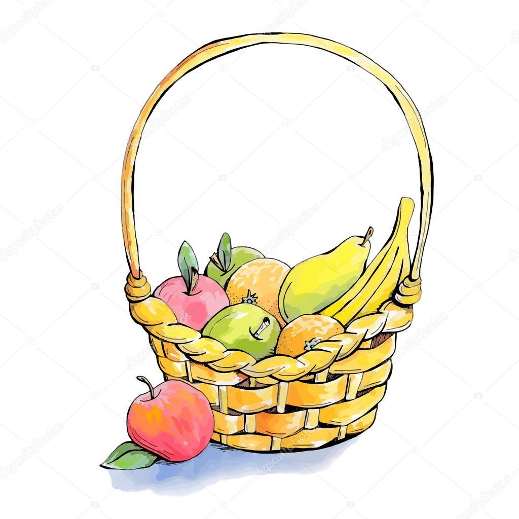 Hasır Meyve Sepeti Stok Vektör Elinorka 125033456